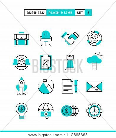 Business, Entrepreneurship, Teamwork, Goals And More. Plain And Line Icons Set, Flat Design