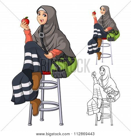 Muslim Woman Fashion Wearing Veil or Scarf with Sit Pose and Holding an Apple and Green Bag in Her A