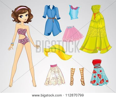 Paper Brown Short Hair Doll