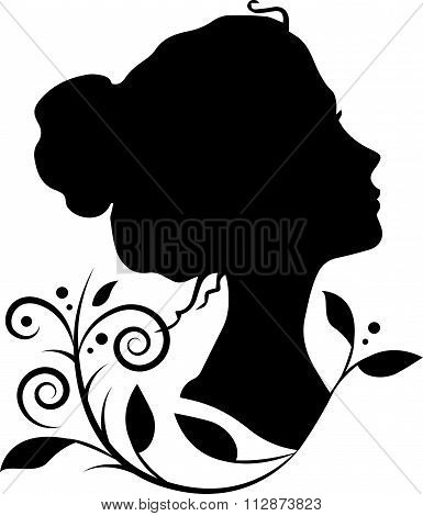 Silhouette of a woman head vector illustration