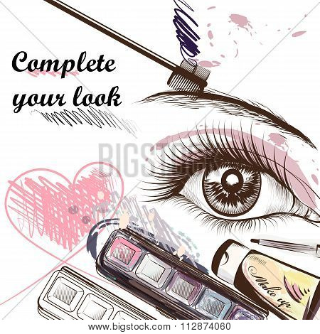Fashion  Background With Make Up Accessories Mascara And Female Eye