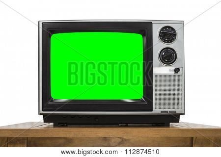 Analog television on white with chroma key green screen.