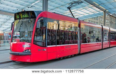 Red Tram In Bern