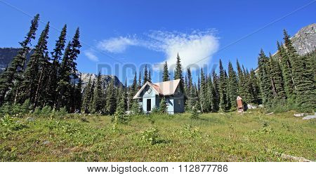 Brian Waddington Hut also known as Phelix Hut in the Coast Mountains of Canada.