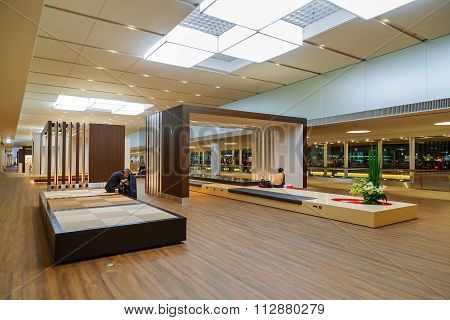 TOKYO JAPAN - NOVEMBER 29 2015: Designed space prepared for the departure passenger at the terminal two of Narita international airport