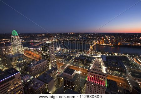 CINCINNATI, OHIO - DECEMBER 18, 2015:  The skyline if Cincinnati is gorgeous form the observation deck of the Carew tower.