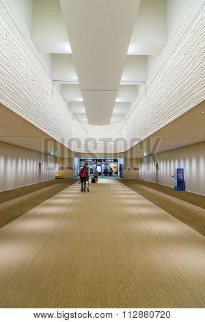 TOKYO JAPAN - NOVEMBER 29 2015: Detail of interior design at the terminal two of Narita international airport