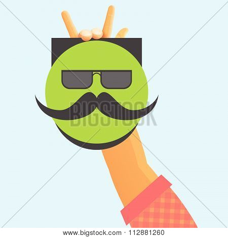hand fingers hold placard mustache sunglasses  face vector illustration