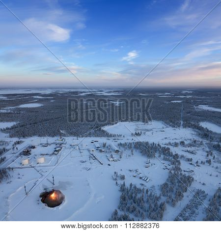 Oil Field In West Siberia, Top View