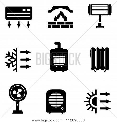 set icons for heating equipment