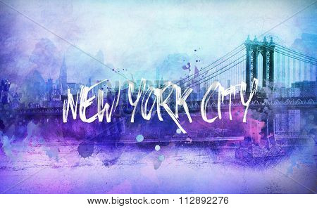 Bright colorful funky New York cityscape with Brooklyn Bridge in shades of purple with white text New York City superimposed