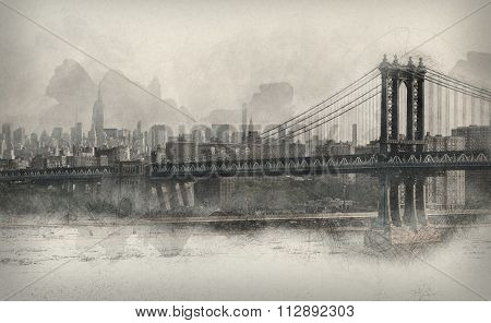 Vintage style toned and aged monochromatic panorama of New York City with the Brooklyn Bridge and East River in the foreground