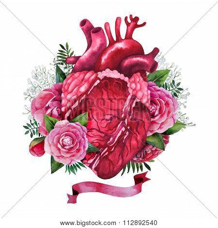 Watercolor heart with floral design