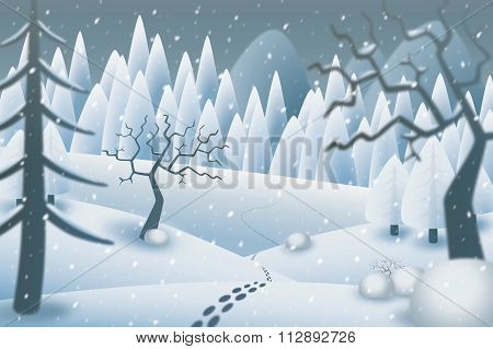Snowy Winternight Illustration