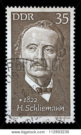 GDR - CIRCA 1972: A stamp printed in GDR shows Heinrich Schliemann (1822-1890), archaeologist, circa 1972