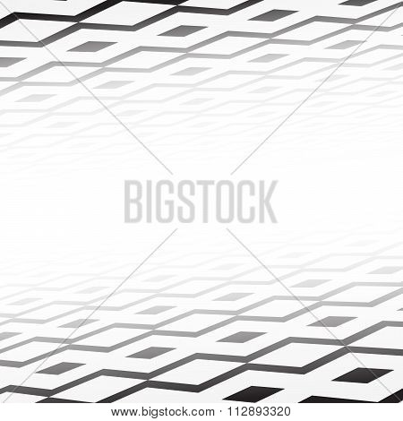 Black geometric shapes tiles, lozenge with perspective