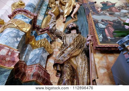 PAKRAC, CROATIA - MAY 07: Risen Christ on altar in the Church of the Assumption of the Blessed Virgin Mary in Pakrac, Croatia on May 07, 2015