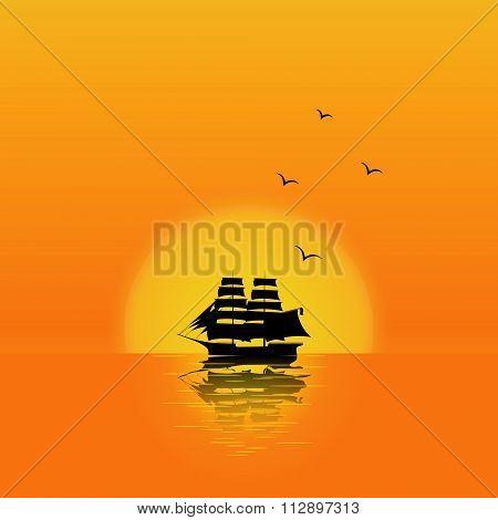 Sailship at sunset