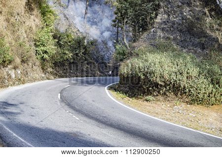 Hills Burning Ahead Of The Road