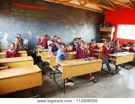 Malealea, Lesotho - August, 27th, 2015: local school; students in the class.