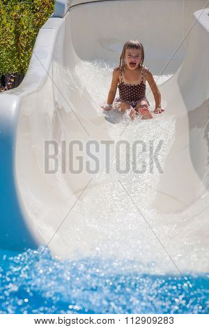 Happy Kid In The Water Park