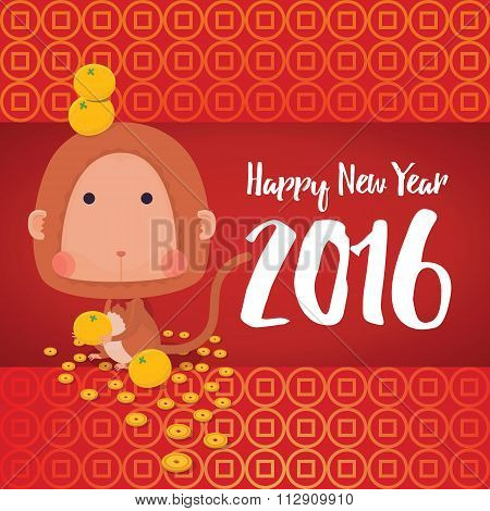 Monkey Happy New Year 2016 Card