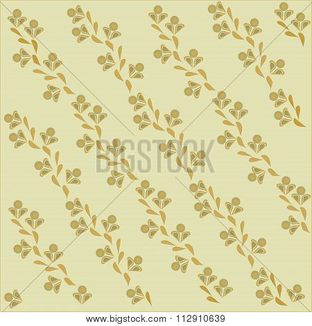 The sloping background, floral. Orange and khaki flowers and leaves on a beige background