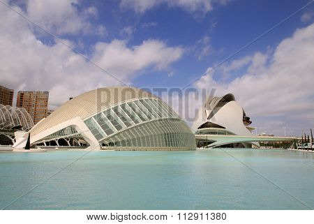 Valencia, Spain - Audust 26, 2012: City Of Arts And Sciences Designed By Santiago Calatrava Architec