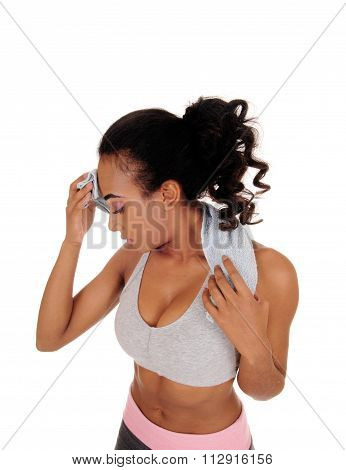 African American Girl Sweating After Workout.