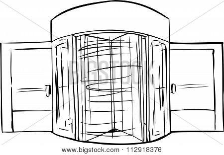 Spinning Revolving Door Outline