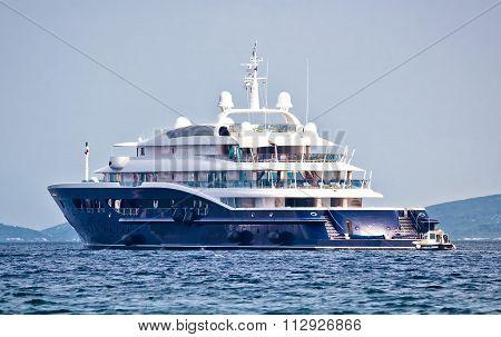Anonymus Luxury Mega Yacht On Open Sea