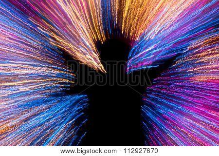 Human With Glad Shape On Multi Color Lighting
