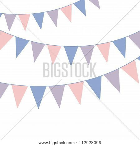 Bunting banner. Rose quarts and serenity colors. Vector illustration.