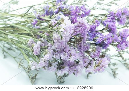Beautiful Statice Flower Bouquet On White Background