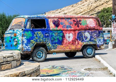 Hippie-Bus from the Hippie Festival in Matala, Greece