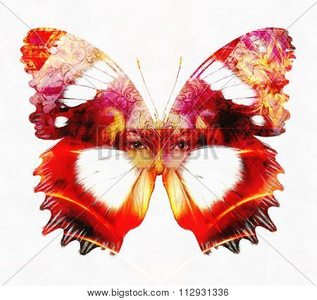 Beautiful Goddness women and color butterfly, mixed media, abstract color background, on white backg