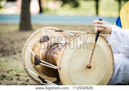janggu traditional musical instrument of Korea drum, closeup