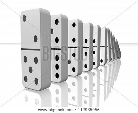 Domino Pieces Falling 3D Illustration Isolated On White Background.