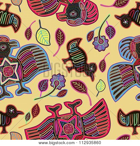 Vector Seamless Pattern  with Stylized Birds in Mola Style. Ancient National Background. Vector Illu