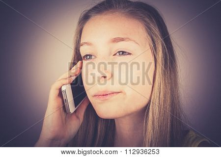 Portrait Teenage Girl Telephoned Outraged, Grain Effect