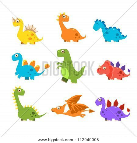 Small Colourful Dinosaur Set. Vector Collection