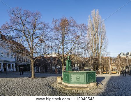 Goethe Fountain At The Frauenplatz Square