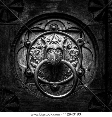 Antique Door Knocker Shaped Monster's Head.