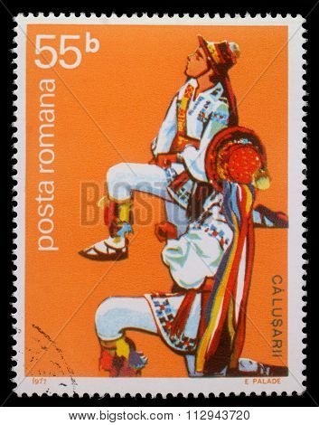 ROMANIA - CIRCA 1977: A stamp printed by Romania, shows Romanian male folk dancer, circa 1977