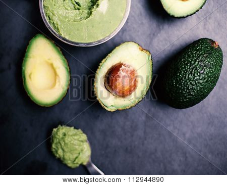 Halved Avocados. Top View. Avocado Spread. Avocado Pasta. Guacamole.