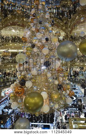 The Christmas Decorations At Hopping Center Galeries Lafayette, Paris, France.