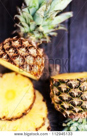 Pineapple Tropical Fruit Or Ananas With Circle Slices. .