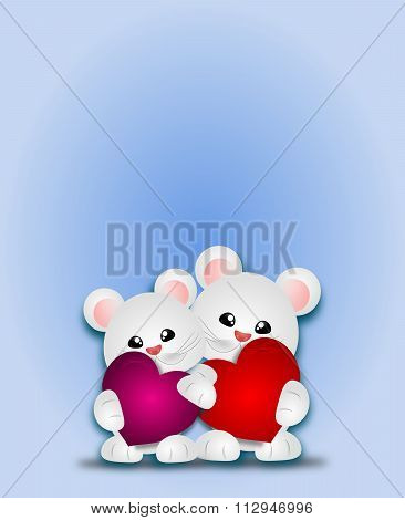 Two Cute Animals With Heart