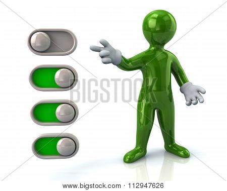 Green Man And Toggle Switches