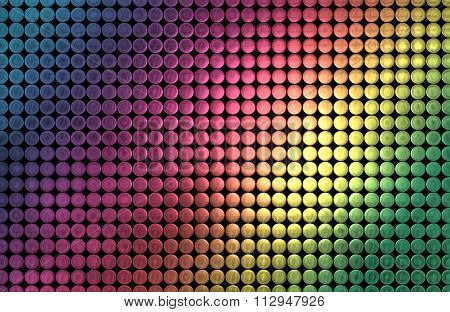 Illustration of a grid of Colorful Metallic Discs Background